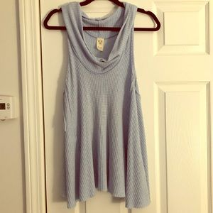 Free people cowl neck waffle knot Henley tank